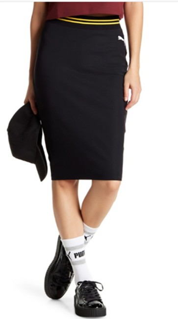 PUMA by Rihanna Casual Knee Lenght Pencil Skirt Black Image 1