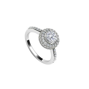 Marco B 14K White Gold Triple AAA Quality Cubic Zirconia Engagement Ring of 1.