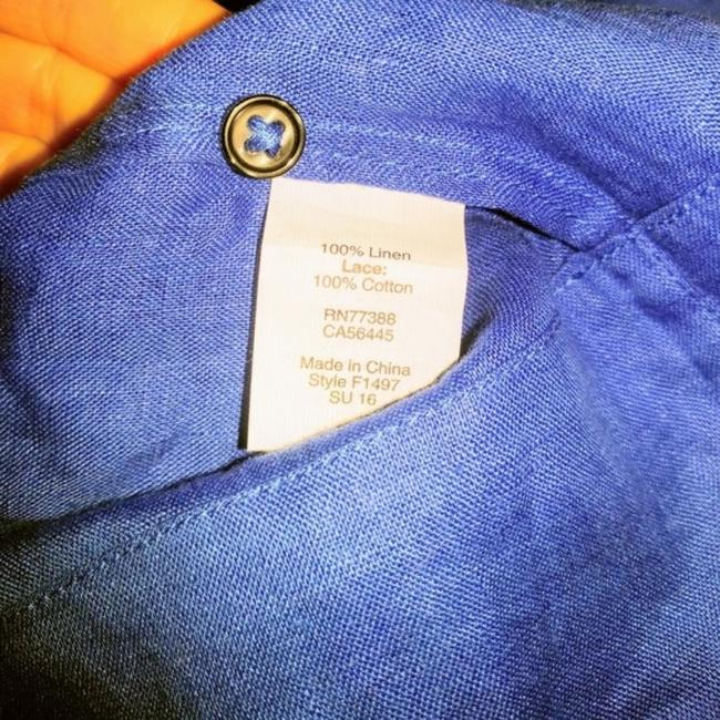 J. Crew Linen Pleated Top Blue Image 5