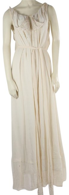 Item - White Bcbg Max Azria Runway Ivory Sequins Open Back Maxi Gown Long Cocktail Dress Size 6 (S)