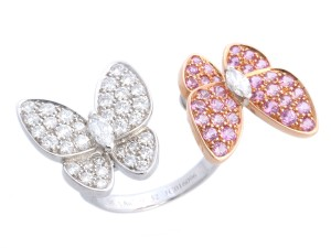 Van Cleef & Arpels PINK SAPPHIRE & DIAMOND 18K GOLD TWO BUTTERFLY BETWEEN THE FINGER RING