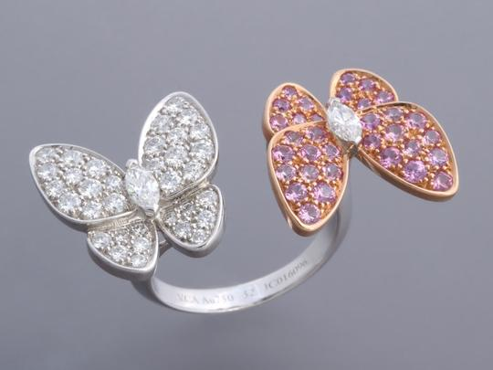 Van Cleef & Arpels PINK SAPPHIRE & DIAMOND 18K GOLD TWO BUTTERFLY BETWEEN THE FINGER RING Image 1