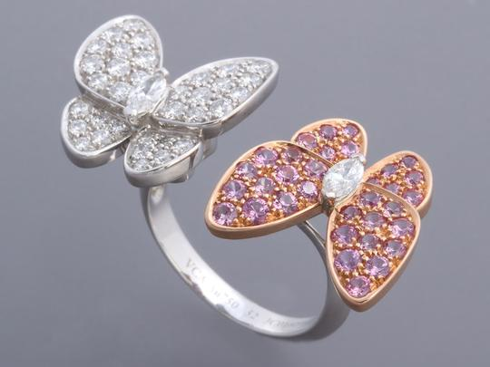 Van Cleef & Arpels PINK SAPPHIRE & DIAMOND 18K GOLD TWO BUTTERFLY BETWEEN THE FINGER RING Image 3