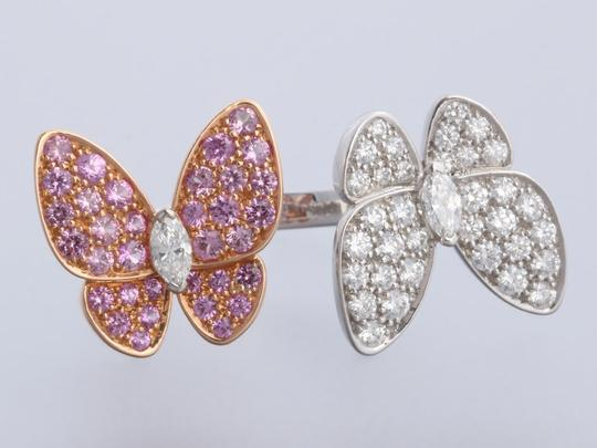 Van Cleef & Arpels PINK SAPPHIRE & DIAMOND 18K GOLD TWO BUTTERFLY BETWEEN THE FINGER RING Image 5