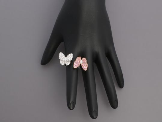 Van Cleef & Arpels PINK SAPPHIRE & DIAMOND 18K GOLD TWO BUTTERFLY BETWEEN THE FINGER RING Image 6