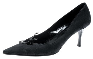 Gucci Canvas Pointed Toe Leather Black Pumps