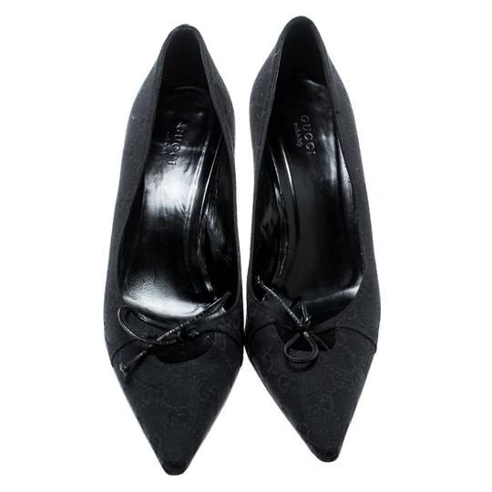 Gucci Canvas Pointed Toe Leather Black Pumps Image 1