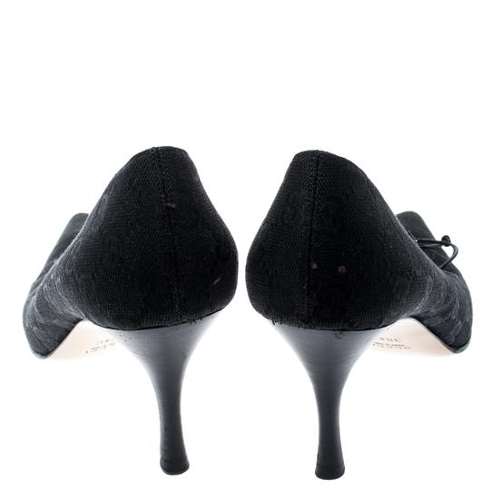 Gucci Canvas Pointed Toe Leather Black Pumps Image 2