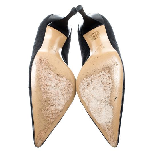 Gucci Canvas Pointed Toe Leather Black Pumps Image 3