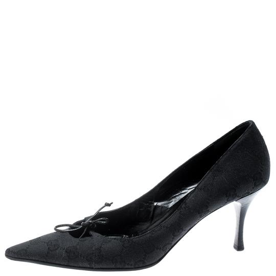Gucci Canvas Pointed Toe Leather Black Pumps Image 4