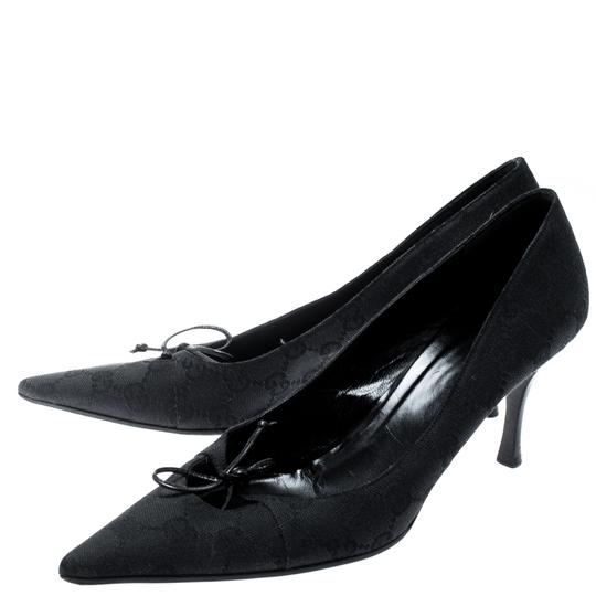 Gucci Canvas Pointed Toe Leather Black Pumps Image 5