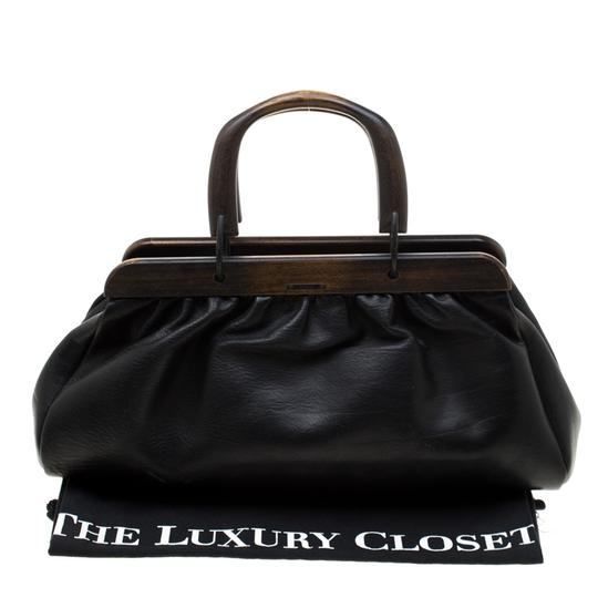 Gucci Leather Satchel in Black Image 11