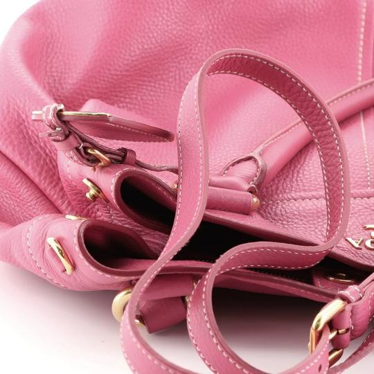 Prada Convertible Vitello Daino Medium Satchel in Pink Image 8