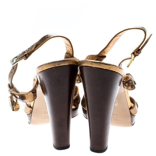 Gucci Metallic Leather Ankle Strap Gold Sandals Image 2