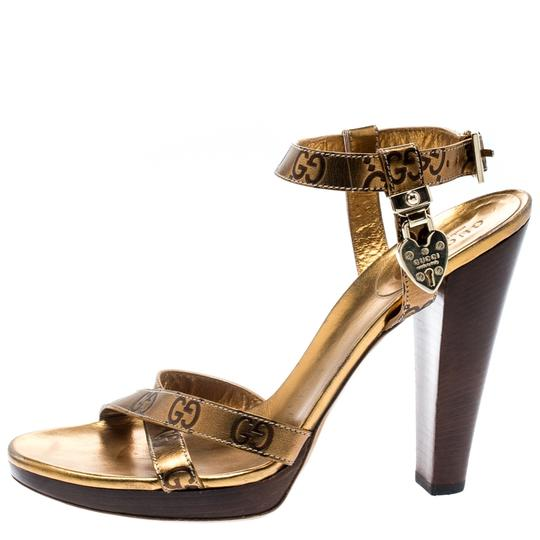 Gucci Metallic Leather Ankle Strap Gold Sandals Image 4