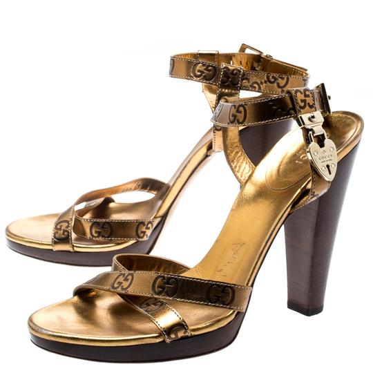 Gucci Metallic Leather Ankle Strap Gold Sandals Image 5