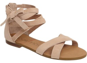 Sole Society Suede New Wrap Strappy Light Camel Sandals