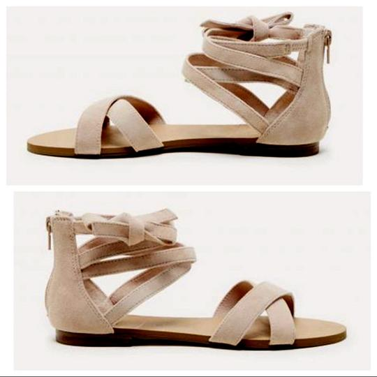 Sole Society Suede New Wrap Strappy Light Camel Sandals Image 1