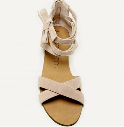 Sole Society Suede New Wrap Strappy Light Camel Sandals Image 3