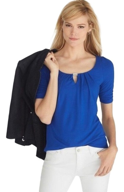 Preload https://img-static.tradesy.com/item/26198230/white-house-black-market-blue-elbow-sleeve-pleated-keyhole-tee-blouse-size-12-l-0-1-650-650.jpg