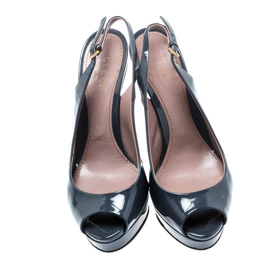 Gucci Patent Leather Peep Toe Slingback Leather Grey Sandals Image 1