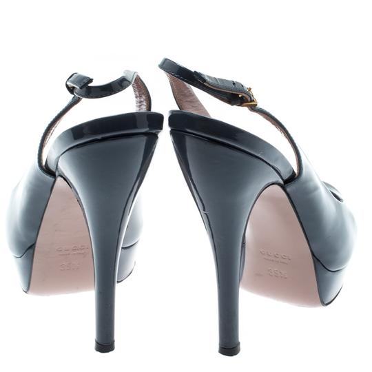 Gucci Patent Leather Peep Toe Slingback Leather Grey Sandals Image 2