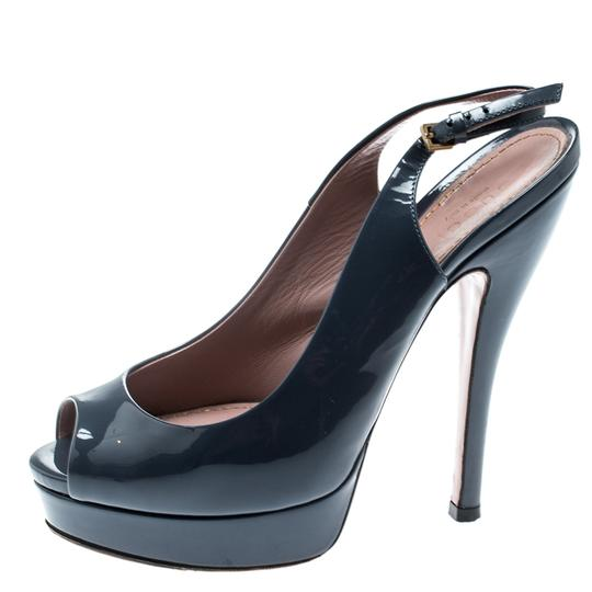 Gucci Patent Leather Peep Toe Slingback Leather Grey Sandals Image 4