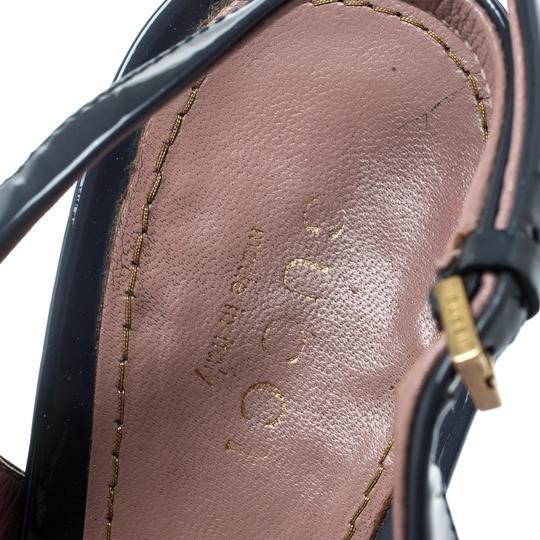 Gucci Patent Leather Peep Toe Slingback Leather Grey Sandals Image 6