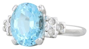 Other 3.64ctw Blue Topaz & Diamond Ring - 10k Size 6 Oval Solitaire