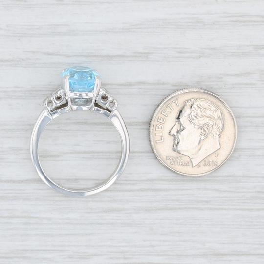 Other 3.64ctw Blue Topaz & Diamond Ring - 10k Size 6 Oval Solitaire Image 5