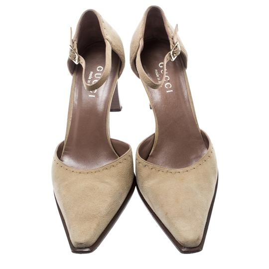 Gucci Suede Pointed Toe Leather Beige Pumps Image 1