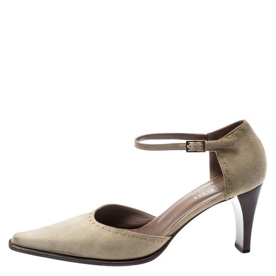 Gucci Suede Pointed Toe Leather Beige Pumps Image 4