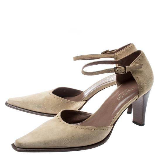 Gucci Suede Pointed Toe Leather Beige Pumps Image 5