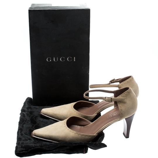 Gucci Suede Pointed Toe Leather Beige Pumps Image 6