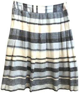 Brooks Brothers Linen Striped A-line Pleated Skirt Blue