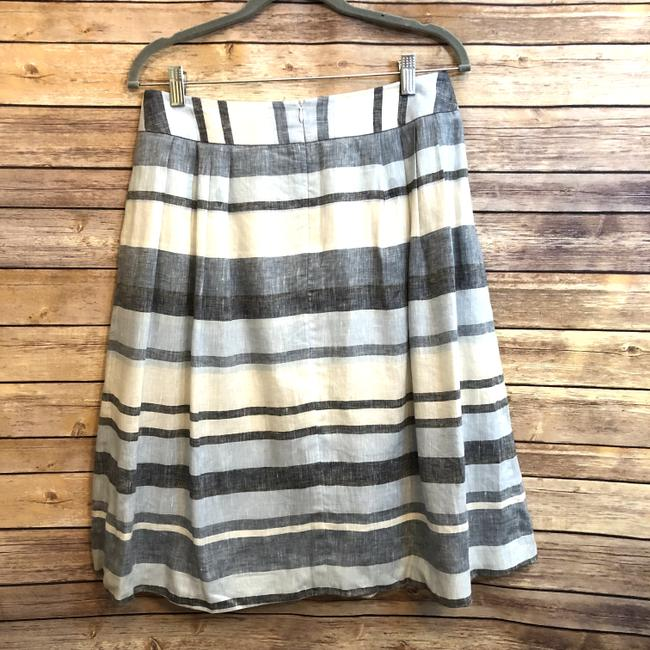 Brooks Brothers Linen Striped A-line Pleated Skirt Blue Image 4