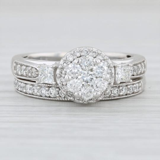 Preload https://img-static.tradesy.com/item/26198442/white-gold-111ctw-engagement-ring-10k-size-7-halo-cluster-women-s-wedding-band-set-0-0-540-540.jpg