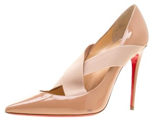 Christian Louboutin Patent Leather Crisscross Strap Pointed Toe Leather Black Pumps