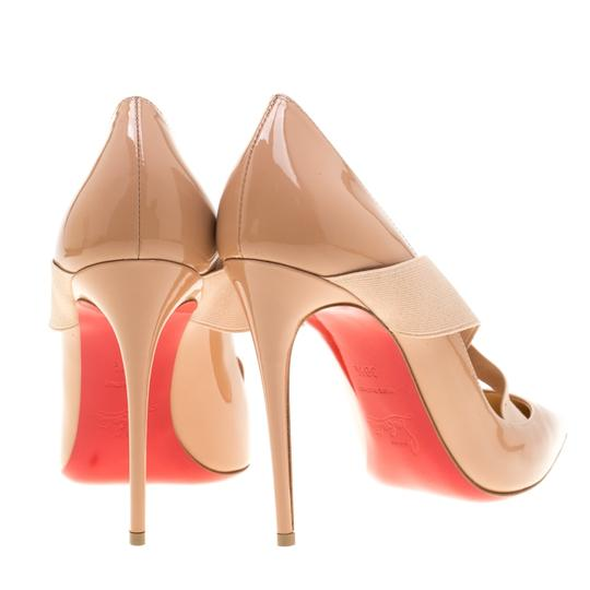Christian Louboutin Patent Leather Crisscross Strap Pointed Toe Leather Black Pumps Image 2