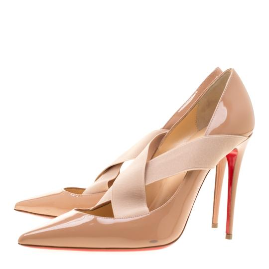 Christian Louboutin Patent Leather Crisscross Strap Pointed Toe Leather Black Pumps Image 5
