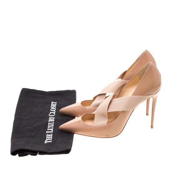 Christian Louboutin Patent Leather Crisscross Strap Pointed Toe Leather Black Pumps Image 7