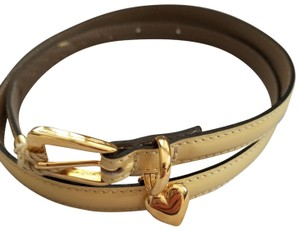 Moschino MOSCHINO yellow leather belt with gold heart hardware NEW $295