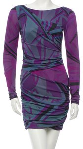 Emilio Pucci Boatneck Longsleeve Summer Party Viscose Print Dress