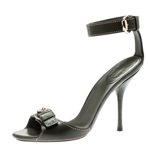Gucci Leather Ankle Strap Green Sandals