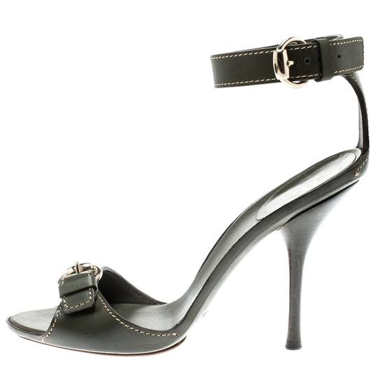 Gucci Leather Ankle Strap Green Sandals Image 4