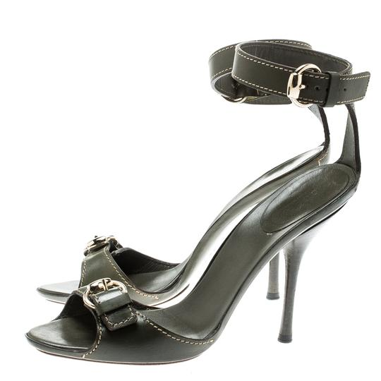 Gucci Leather Ankle Strap Green Sandals Image 5