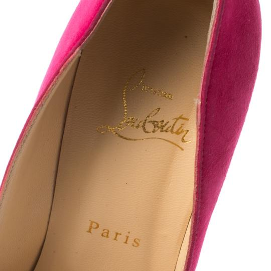 Christian Louboutin Suede Platform Leather Pink Pumps Image 5