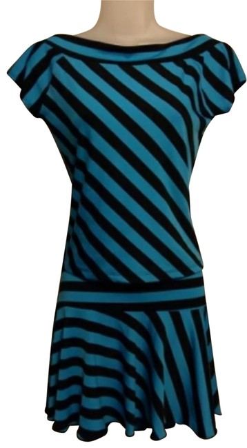 Preload https://img-static.tradesy.com/item/26198736/turquoise-and-black-2-pc-outfit-stretchy-top-skirt-short-casual-dress-size-8-m-0-5-650-650.jpg