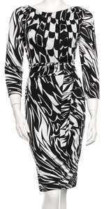 Emilio Pucci Black White Rayon Print Dress