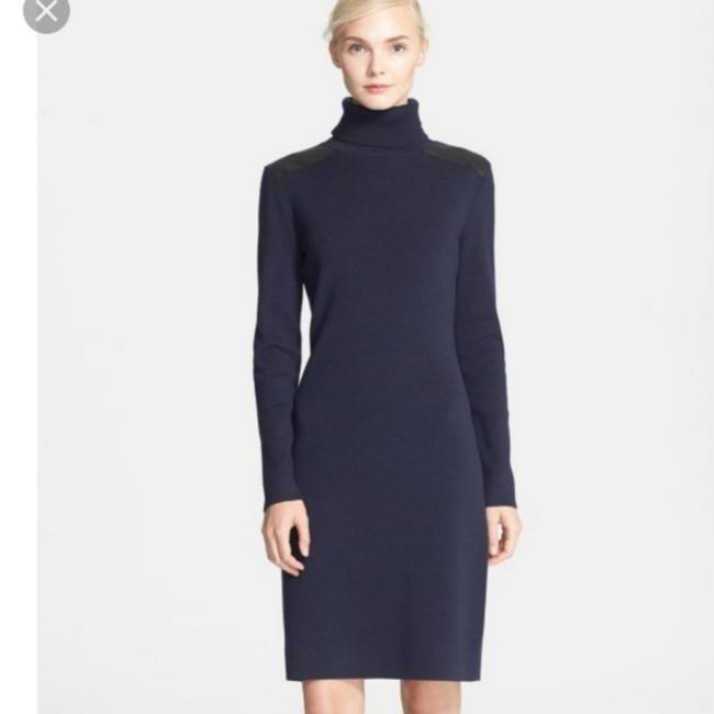 Item - Navy Blue with Black Leather Patch Turtle Neck Mid-length Work/Office Dress Size 10 (M)